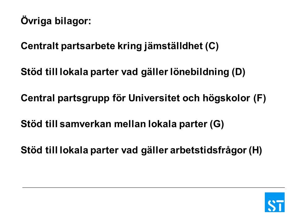Övriga bilagor: Centralt partsarbete kring jämställdhet (C) Stöd till lokala parter vad gäller lönebildning (D) Central partsgrupp för Universitet och
