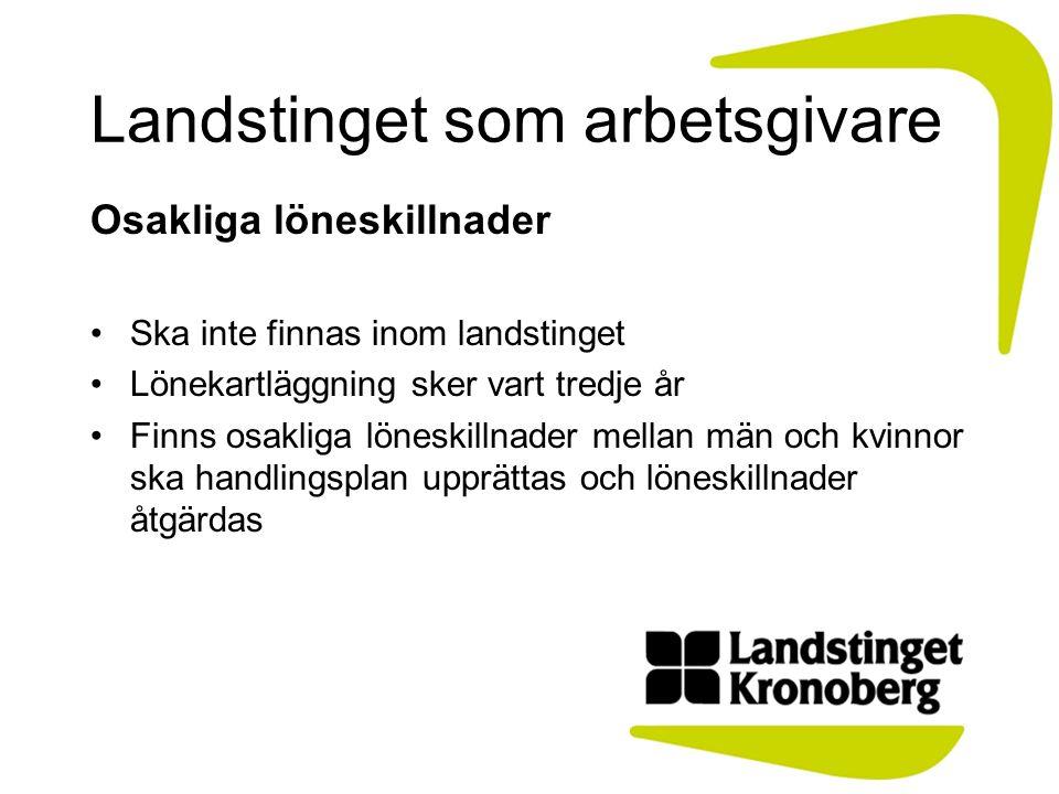Landstinget som arbetsgivare Osakliga löneskillnader Ska inte finnas inom landstinget Lönekartläggning sker vart tredje år Finns osakliga löneskillnad