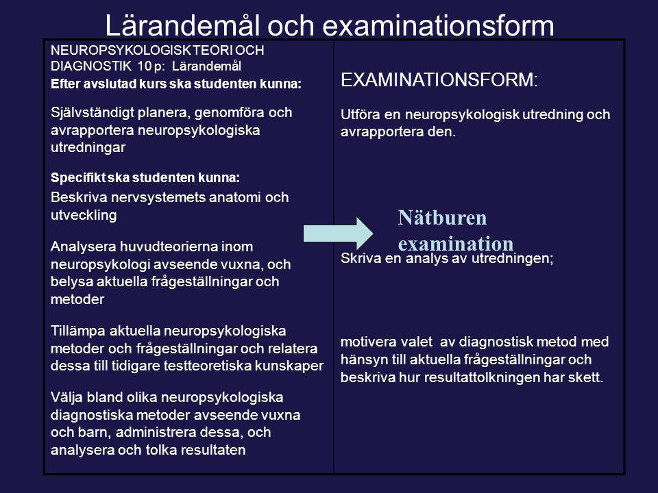Lärandemål och examinationsform NEUROPSYKOLOGISK TEORI OCH DIAGNOSTIK 10 p: Lärandemål Efter avslutad kurs ska studenten kunna: Självständigt planera,