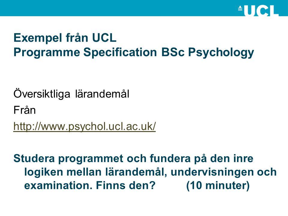 Exempel från UCL Programme Specification BSc Psychology Översiktliga lärandemål Från http://www.psychol.ucl.ac.uk/ Studera programmet och fundera på d