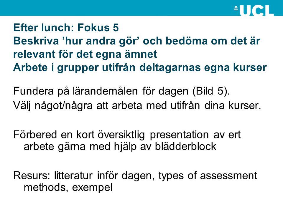Efter lunch: Fokus 5 Beskriva 'hur andra gör' och bedöma om det är relevant för det egna ämnet Arbete i grupper utifrån deltagarnas egna kurser Funder
