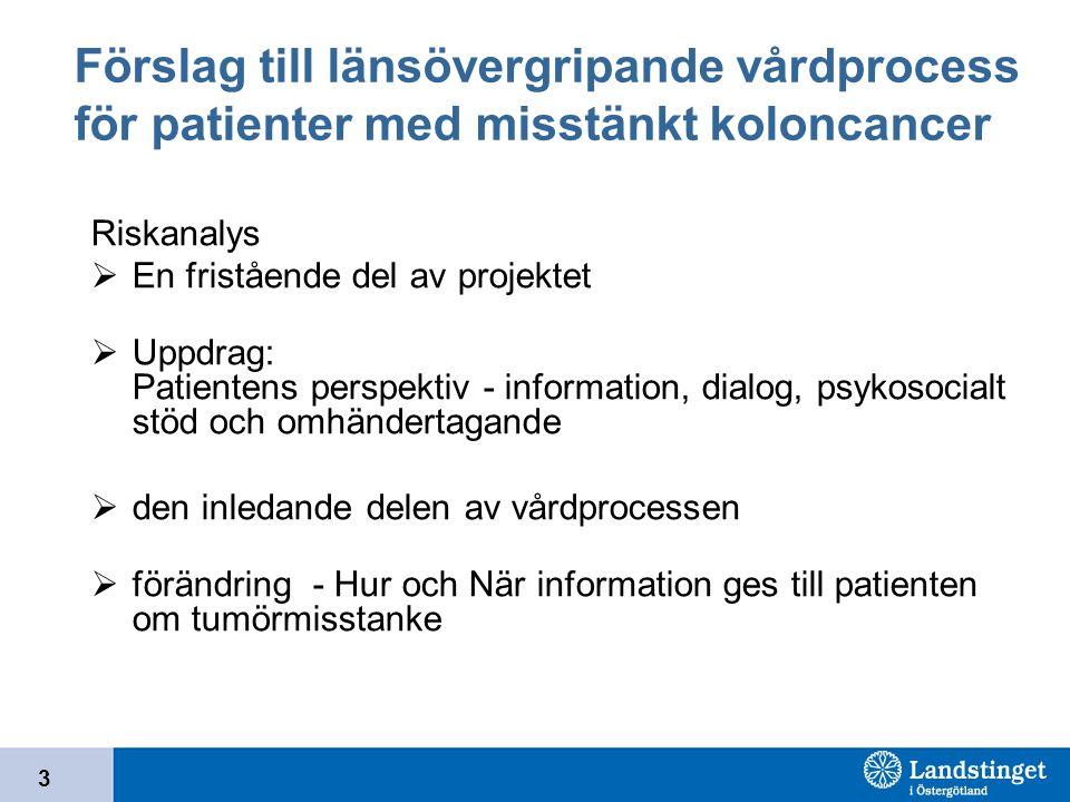 3 Förslag till länsövergripande vårdprocess för patienter med misstänkt koloncancer Riskanalys  En fristående del av projektet  Uppdrag: Patientens