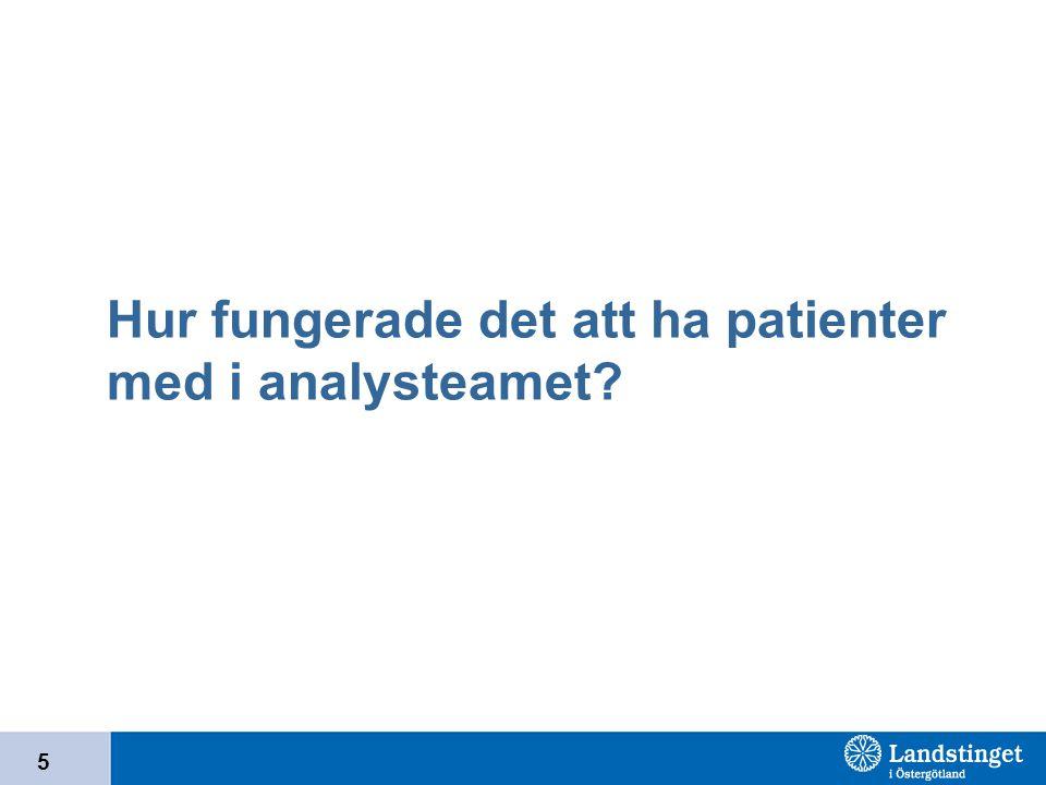 5 Hur fungerade det att ha patienter med i analysteamet?