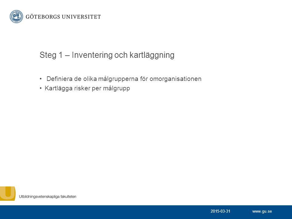 www.gu.se Steg 2 – Riskanalys Bedöma huruvida risken sannolikt inträffar samt konsekvensen av utfallet 2015-03-31