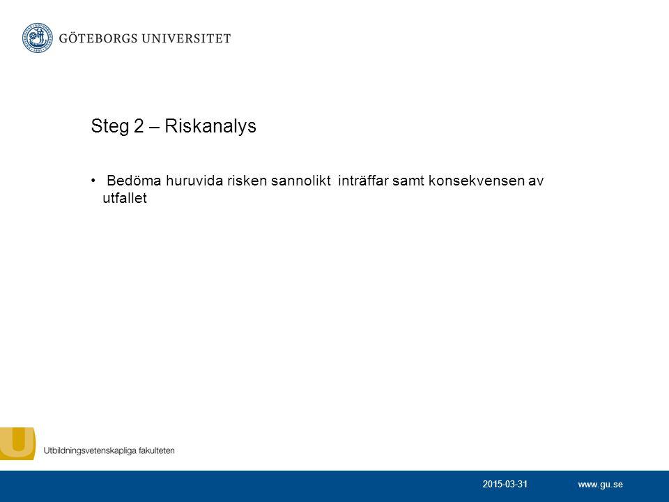 www.gu.se Steg 3 - Uppföljning Uppföljning av genomförda åtgärder Ny bedömning av risken (efter vidtagen åtgärd) 2015-03-31