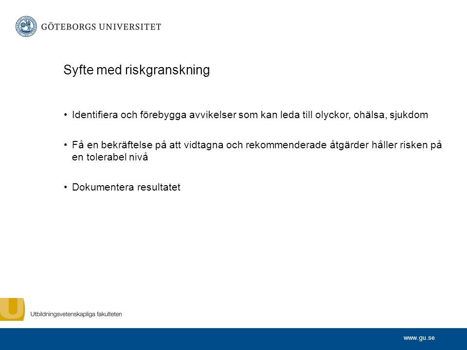www.gu.se Metodiken Tre delar: Informationsinsamling Inventering/kartläggning Riskanalys Uppföljning Av riskgranskning och önskat utfall