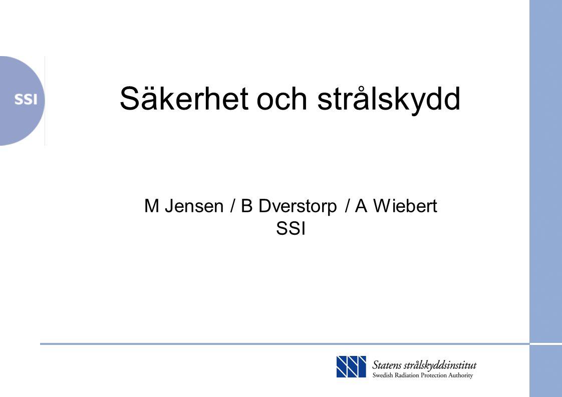 Säkerhet och strålskydd M Jensen / B Dverstorp / A Wiebert SSI