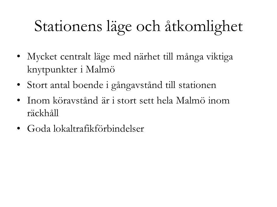 Stationens läge och åtkomlighet Mycket centralt läge med närhet till många viktiga knytpunkter i Malmö Stort antal boende i gångavstånd till stationen