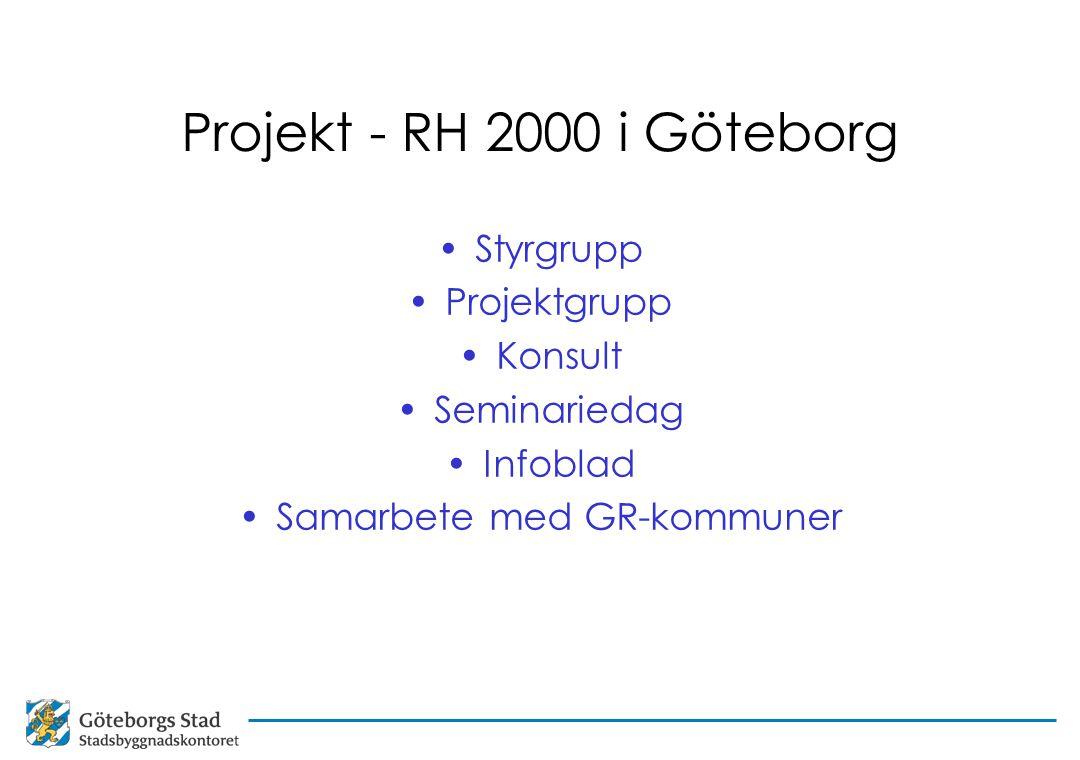Projekt - RH 2000 i Göteborg Styrgrupp Projektgrupp Konsult Seminariedag Infoblad Samarbete med GR-kommuner
