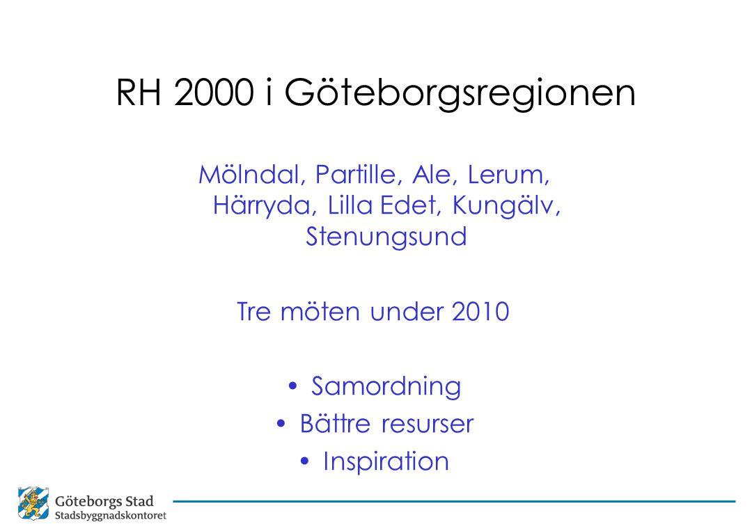 RH 2000 i Göteborgsregionen Mölndal, Partille, Ale, Lerum, Härryda, Lilla Edet, Kungälv, Stenungsund Tre möten under 2010 Samordning Bättre resurser Inspiration