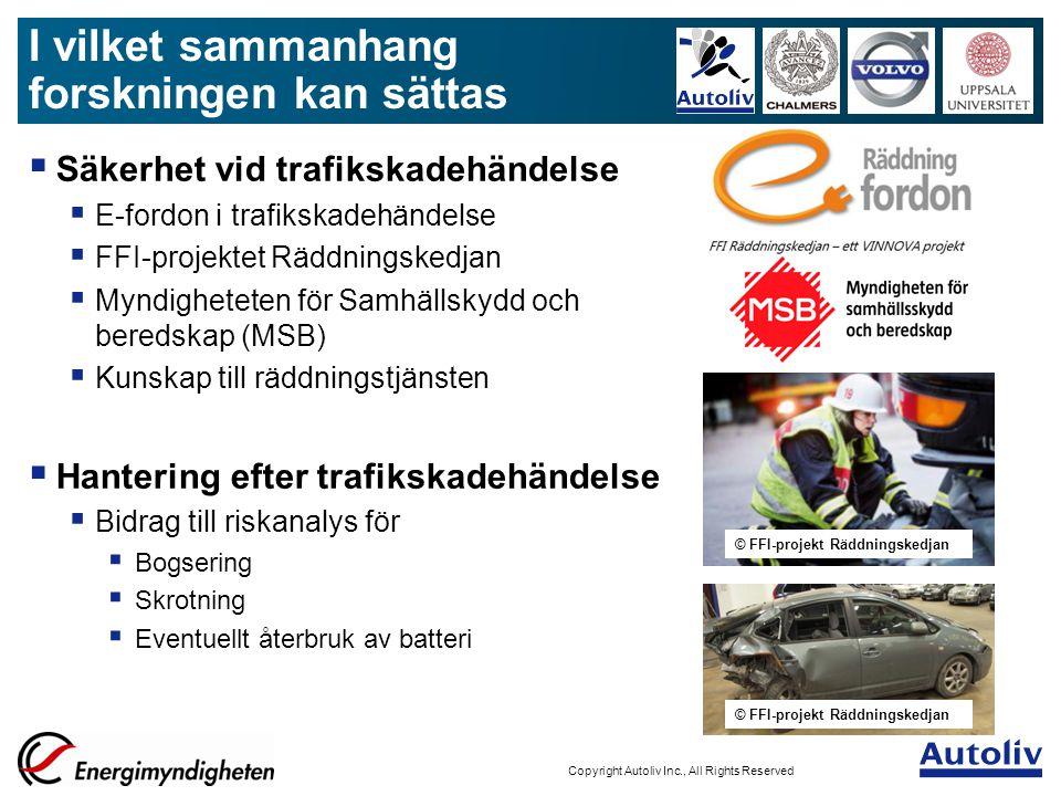 ALV-AuthorInitials/MmmYYYY/Filename - 9 Copyright Autoliv Inc., All Rights Reserved Klart  Ny provkammare konstruerad och levererad (Autoliv)  Analysutrustning uppkopplad till provkammare (Chalmers)  Battericeller laddade och levererade (Volvo Cars & Autoliv) Återstår  Termisk provning – 30-40 prov (Chalmers)  Post-mortem studie – 10-tal celler (Uppsala Universitet)  Resultatanalys  Disseminering genom publikationer och presentationer Status: Färdigt till april 2015 Status för projektet