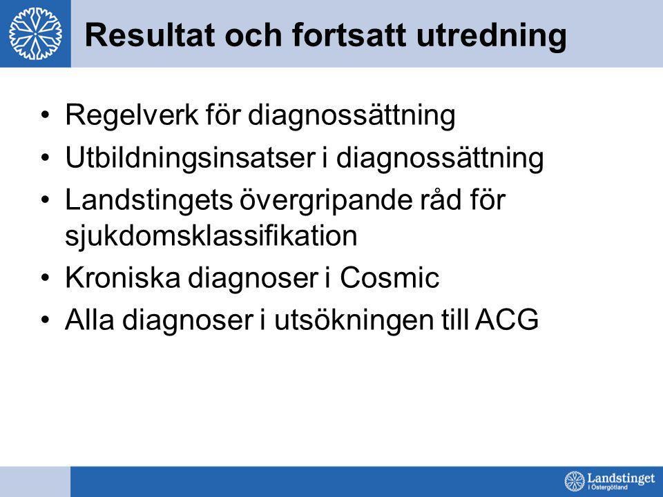 Resultat och fortsatt utredning Regelverk för diagnossättning Utbildningsinsatser i diagnossättning Landstingets övergripande råd för sjukdomsklassifi