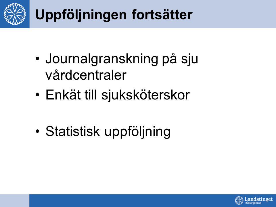 Uppföljningen fortsätter Journalgranskning på sju vårdcentraler Enkät till sjuksköterskor Statistisk uppföljning
