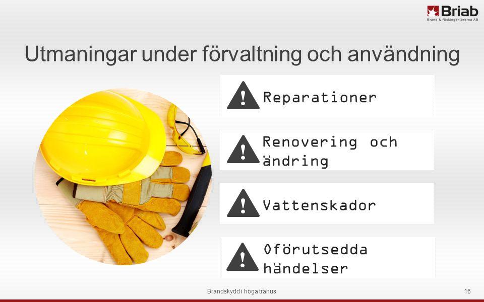 Renovering och ändring Utmaningar under förvaltning och användning Brandskydd i höga trähus16 Vattenskador Reparationer Oförutsedda händelser