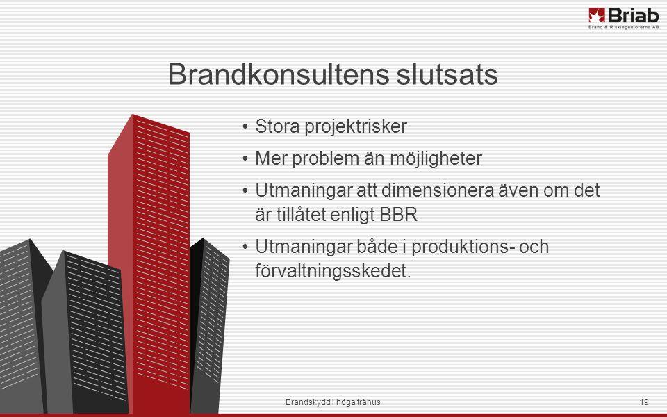 Brandkonsultens slutsats Stora projektrisker Mer problem än möjligheter Utmaningar att dimensionera även om det är tillåtet enligt BBR Utmaningar både i produktions- och förvaltningsskedet.