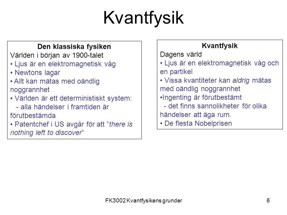 FK3002 Kvantfysikens grunder27 Diffraktion från en enkelspalt - intensitet y
