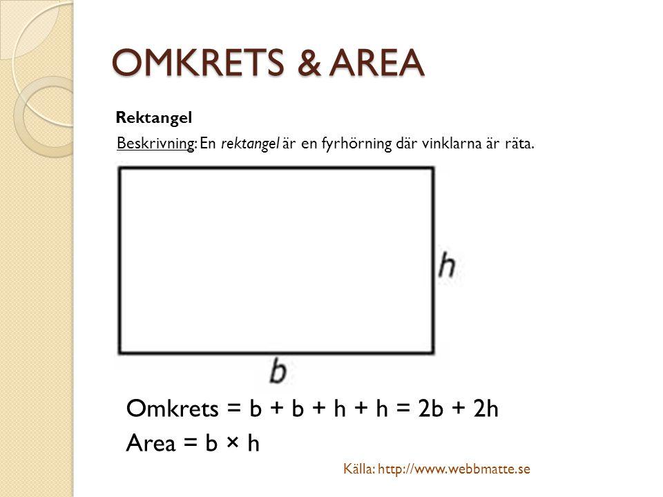 OMKRETS & AREA Rektangel Beskrivning: En rektangel är en fyrhörning där vinklarna är räta. Omkrets = b + b + h + h = 2b + 2h Area = b × h Källa: http: