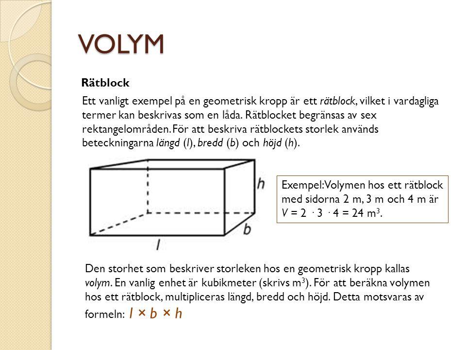 VOLYM Rätblock Ett vanligt exempel på en geometrisk kropp är ett rätblock, vilket i vardagliga termer kan beskrivas som en låda. Rätblocket begränsas