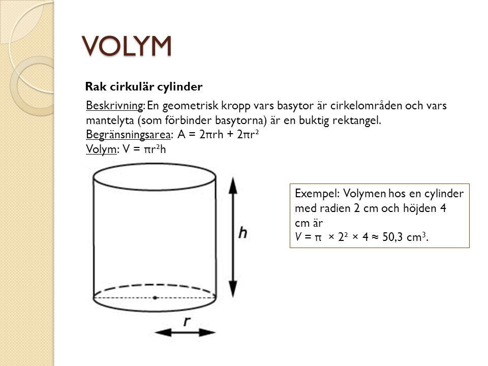 VOLYM Rak cirkulär cylinder Beskrivning: En geometrisk kropp vars basytor är cirkelområden och vars mantelyta (som förbinder basytorna) är en buktig r