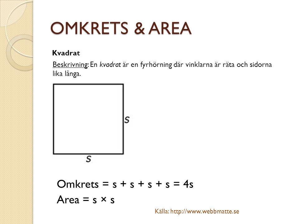 OMKRETS & AREA Kvadrat Beskrivning: En kvadrat är en fyrhörning där vinklarna är räta och sidorna lika långa. Omkrets = s + s + s + s = 4s Area = s ×