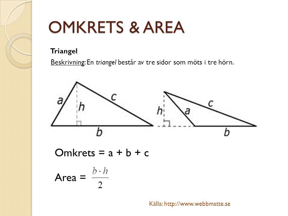 OMKRETS & AREA Triangel Beskrivning: En triangel består av tre sidor som möts i tre hörn. Omkrets = a + b + c Area = Källa: http://www.webbmatte.se