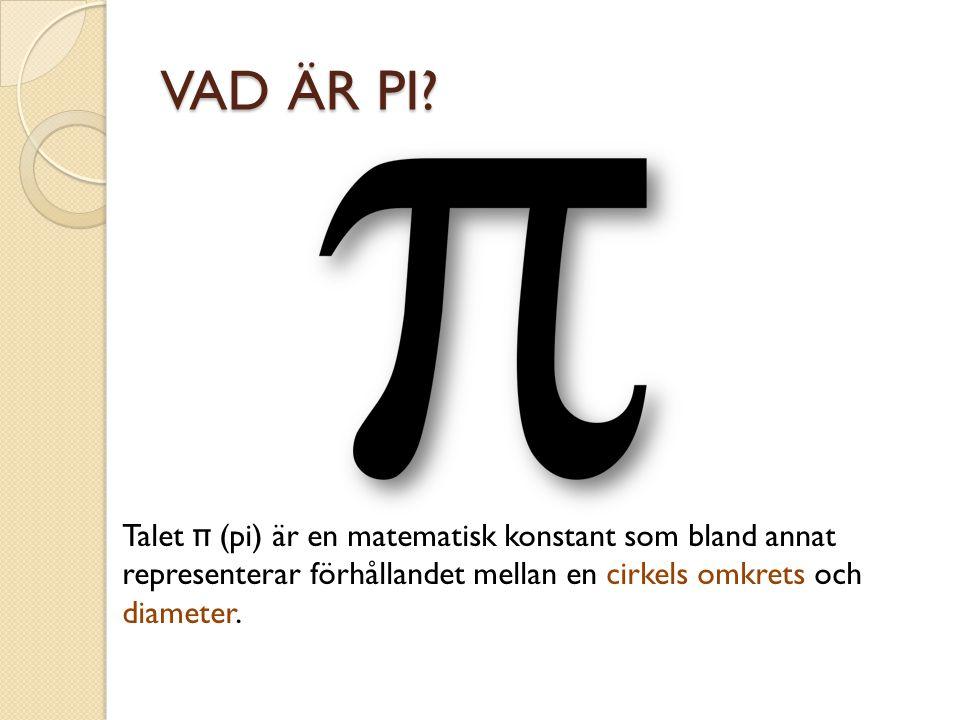 Talet π (pi) är en matematisk konstant som bland annat representerar förhållandet mellan en cirkels omkrets och diameter.