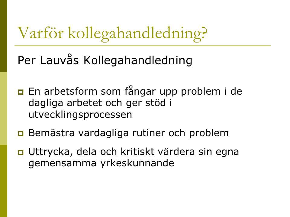 Per Lauvås Kollegahandledning  En arbetsform som fångar upp problem i de dagliga arbetet och ger stöd i utvecklingsprocessen  Bemästra vardagliga ru