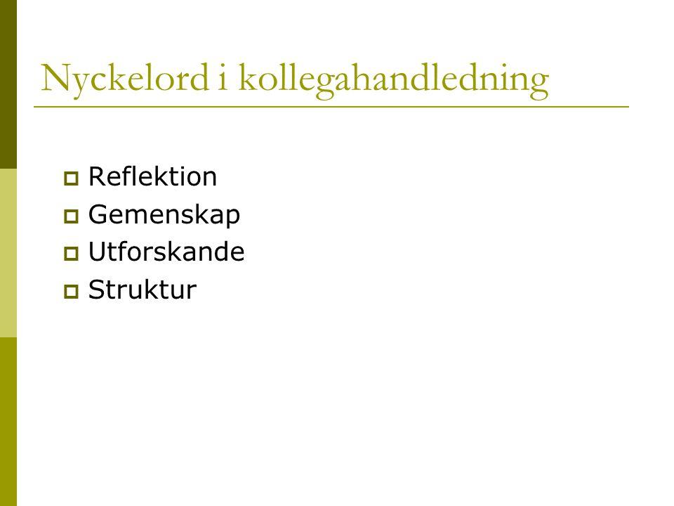  Reflektion  Gemenskap  Utforskande  Struktur Nyckelord i kollegahandledning