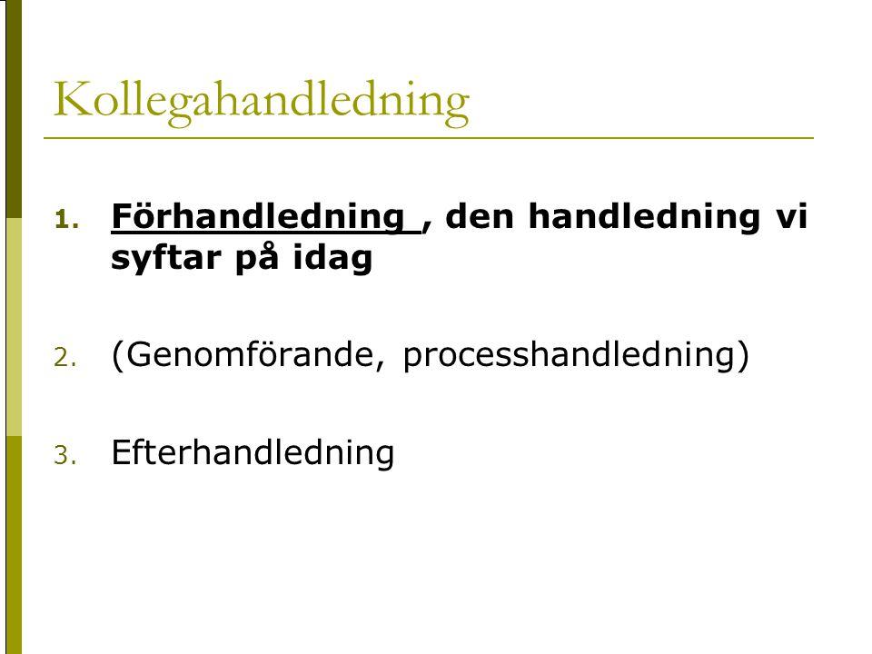 Kollegahandledning 1. Förhandledning, den handledning vi syftar på idag 2. (Genomförande, processhandledning) 3. Efterhandledning