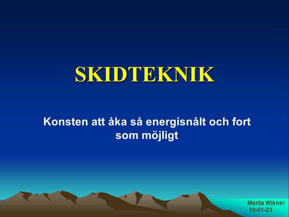 SKIDTEKNIK Marita Wikner 10-01-23 Konsten att åka så energisnålt och fort som möjligt