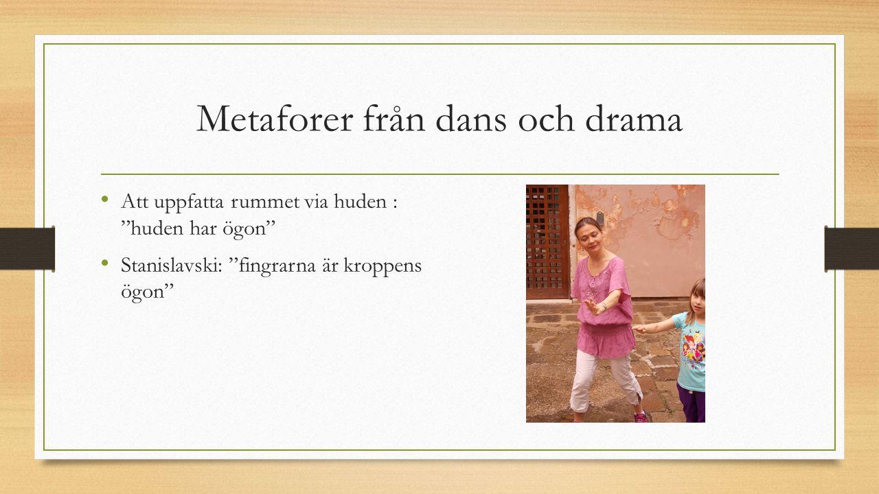 """Metaforer från dans och drama Att uppfatta rummet via huden : """"huden har ögon"""" Stanislavski: """"fingrarna är kroppens ögon"""""""