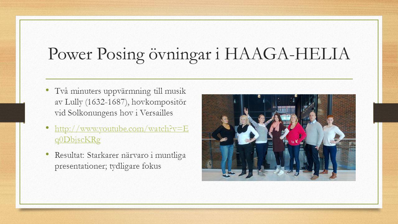 Power Posing övningar i HAAGA-HELIA Två minuters uppvärmning till musik av Lully (1632-1687), hovkompositör vid Solkonungens hov i Versailles http://w