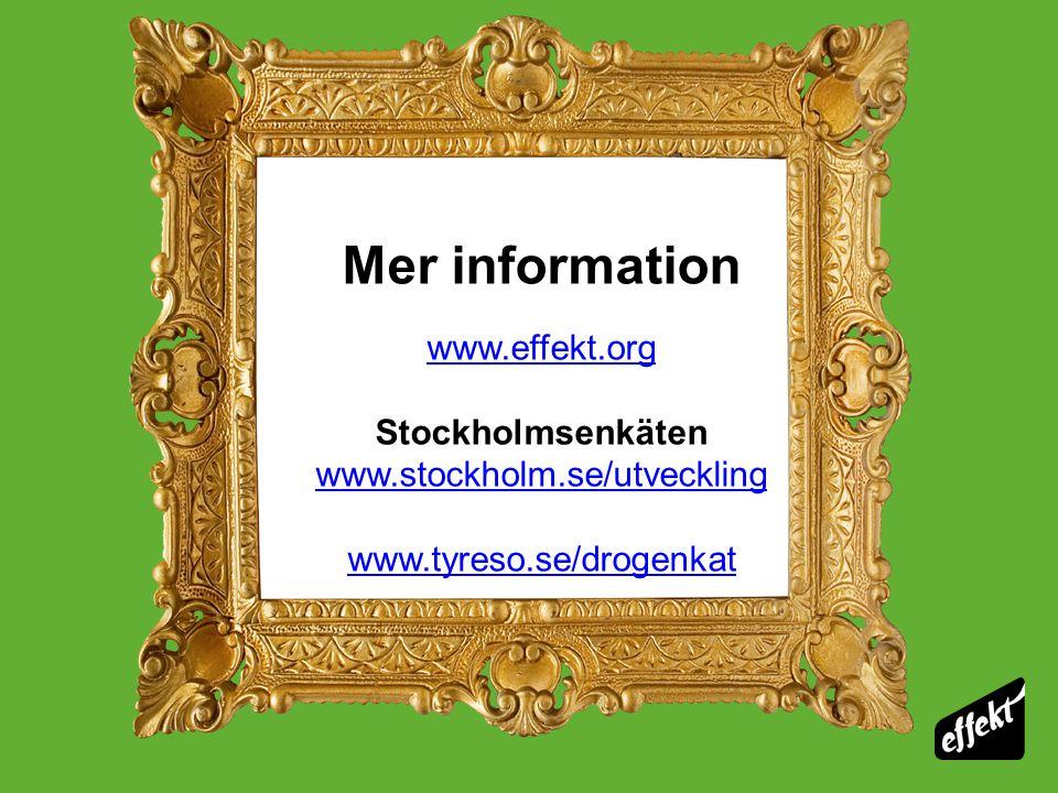 Mer information www.effekt.org Stockholmsenkäten www.stockholm.se/utveckling www.tyreso.se/drogenkat