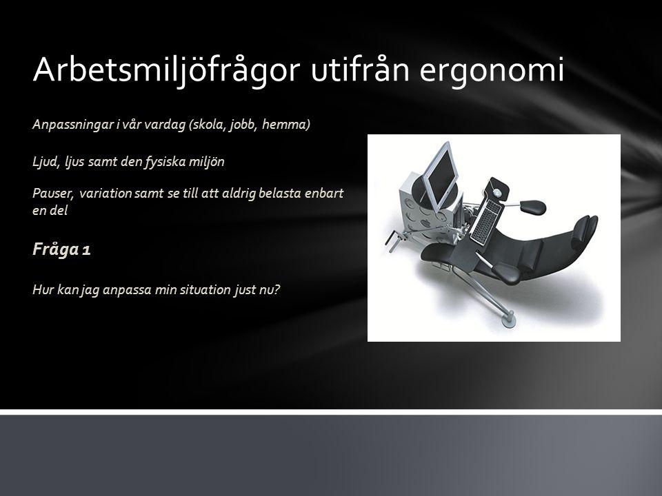 Arbetsmiljöfrågor utifrån ergonomi Anpassningar i vår vardag (skola, jobb, hemma) Ljud, ljus samt den fysiska miljön Pauser, variation samt se till at
