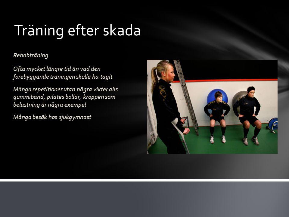 Träning efter skada Rehabträning Ofta mycket längre tid än vad den förebyggande träningen skulle ha tagit Många repetitioner utan några vikter alls gu