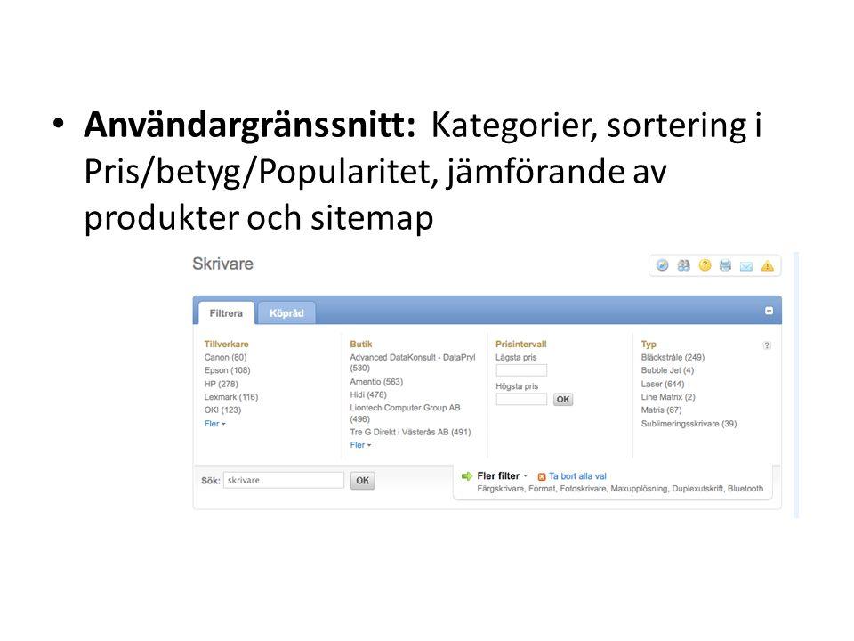 Användargränssnitt: K ategorier, sortering i Pris/betyg/Popularitet, jämförande av produkter och sitemap