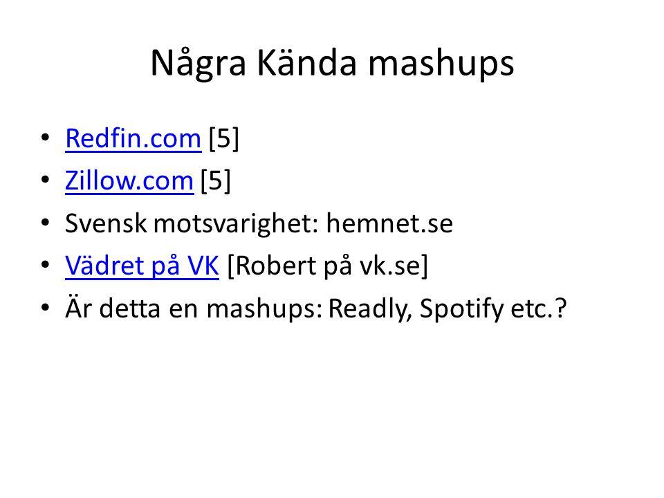 Några Kända mashups Redfin.com [5] Redfin.com Zillow.com [5] Zillow.com Svensk motsvarighet: hemnet.se Vädret på VK [Robert på vk.se] Vädret på VK Är