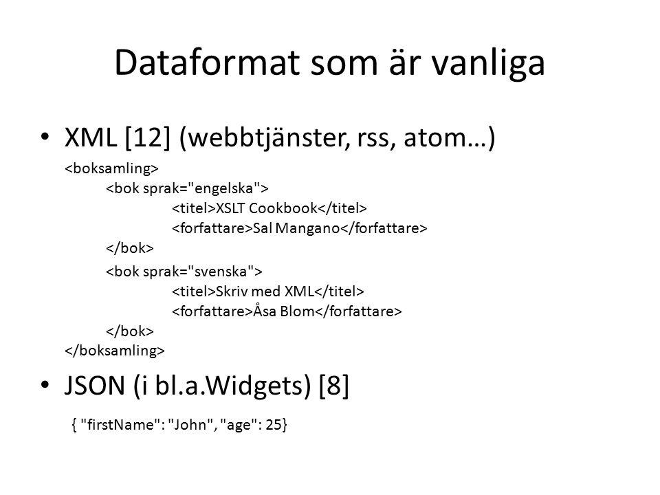 Dataformat som är vanliga XML [12] (webbtjänster, rss, atom…) XSLT Cookbook Sal Mangano Skriv med XML Åsa Blom JSON (i bl.a.Widgets) [8] { firstName : John , age : 25}