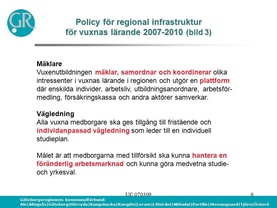 Göteborgsregionens kommunalförbund: Ale|Alingsås|Göteborg|Härryda|Kungsbacka|Kungälv|Lerum|LillaEdet|Mölndal|Partille|Stenungsund|Tjörn|Öckerö UC 0703096 Policy för regional infrastruktur för vuxnas lärande 2007-2010 (bild 3) Mäklare Vuxenutbildningen mäklar, samordnar och koordinerar olika intressenter i vuxnas lärande i regionen och utgör en plattform där enskilda individer, arbetsliv, utbildningsanordnare, arbetsför- medling, försäkringskassa och andra aktörer samverkar.
