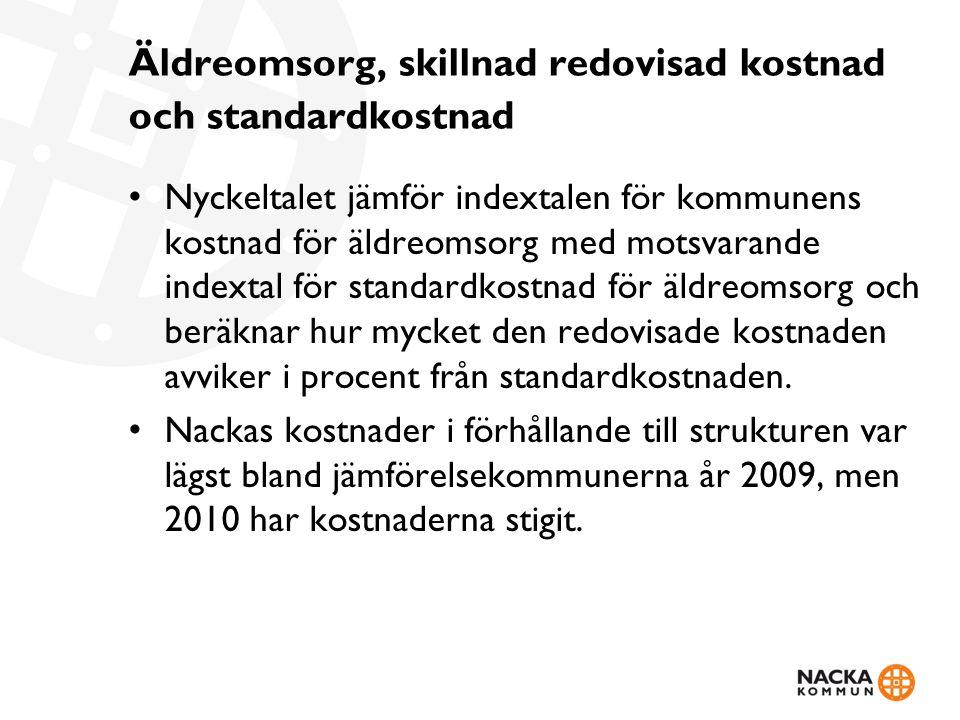 Äldreomsorg, skillnad redovisad kostnad och standardkostnad Nyckeltalet jämför indextalen för kommunens kostnad för äldreomsorg med motsvarande indext