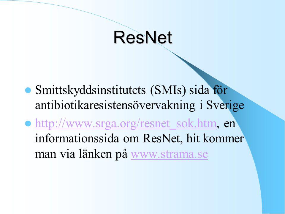 ResNet Smittskyddsinstitutets (SMIs) sida för antibiotikaresistensövervakning i Sverige http://www.srga.org/resnet_sok.htm, en informationssida om Res