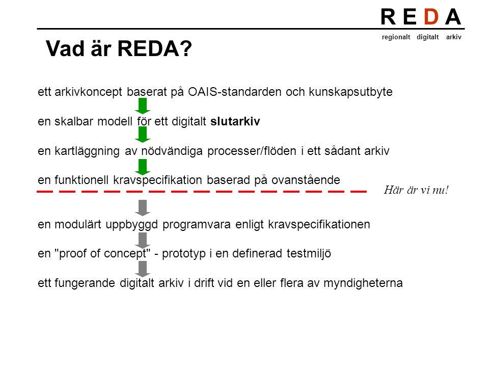 R E D A regionalt digitalt arkiv Vad är REDA? ett arkivkoncept baserat på OAIS-standarden och kunskapsutbyte en skalbar modell för ett digitalt slutar