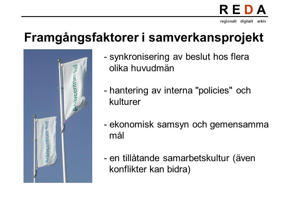 R E D A regionalt digitalt arkiv - synkronisering av beslut hos flera olika huvudmän - hantering av interna policies och kulturer - ekonomisk samsyn och gemensamma mål - en tillåtande samarbetskultur (även konflikter kan bidra) Framgångsfaktorer i samverkansprojekt