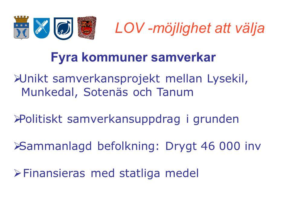 LOV -möjlighet att välja Fyra kommuner samverkar  Unikt samverkansprojekt mellan Lysekil, Munkedal, Sotenäs och Tanum  Politiskt samverkansuppdrag i grunden  Sammanlagd befolkning: Drygt 46 000 inv  Finansieras med statliga medel