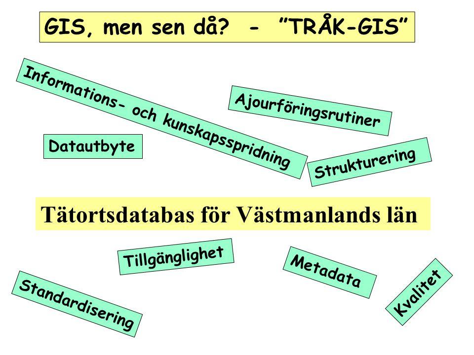 Tätortsdatabas för Västmanlands län GIS, men sen då.