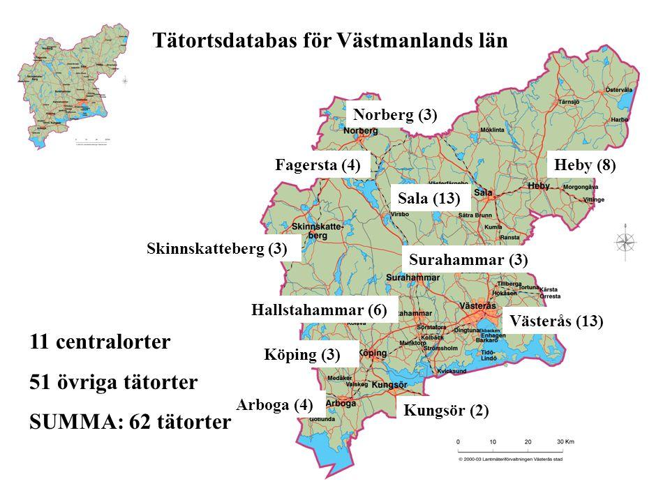 Fagersta (4) Norberg (3) Skinnskatteberg (3) Hallstahammar (6) Köping (3) Arboga (4) Kungsör (2) Västerås (13) Surahammar (3) Sala (13) Heby (8) 11 centralorter 51 övriga tätorter SUMMA: 62 tätorter Tätortsdatabas för Västmanlands län