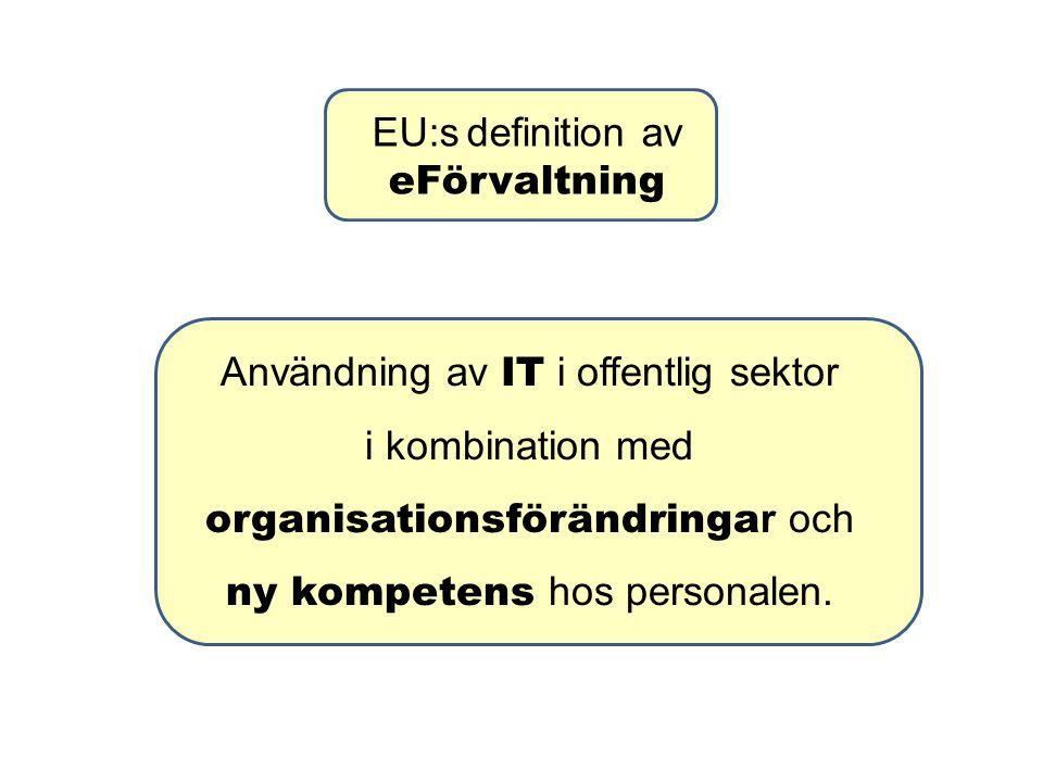 EU:s definition av eFörvaltning Användning av IT i offentlig sektor i kombination med organisationsförändringa r och ny kompetens hos personalen.