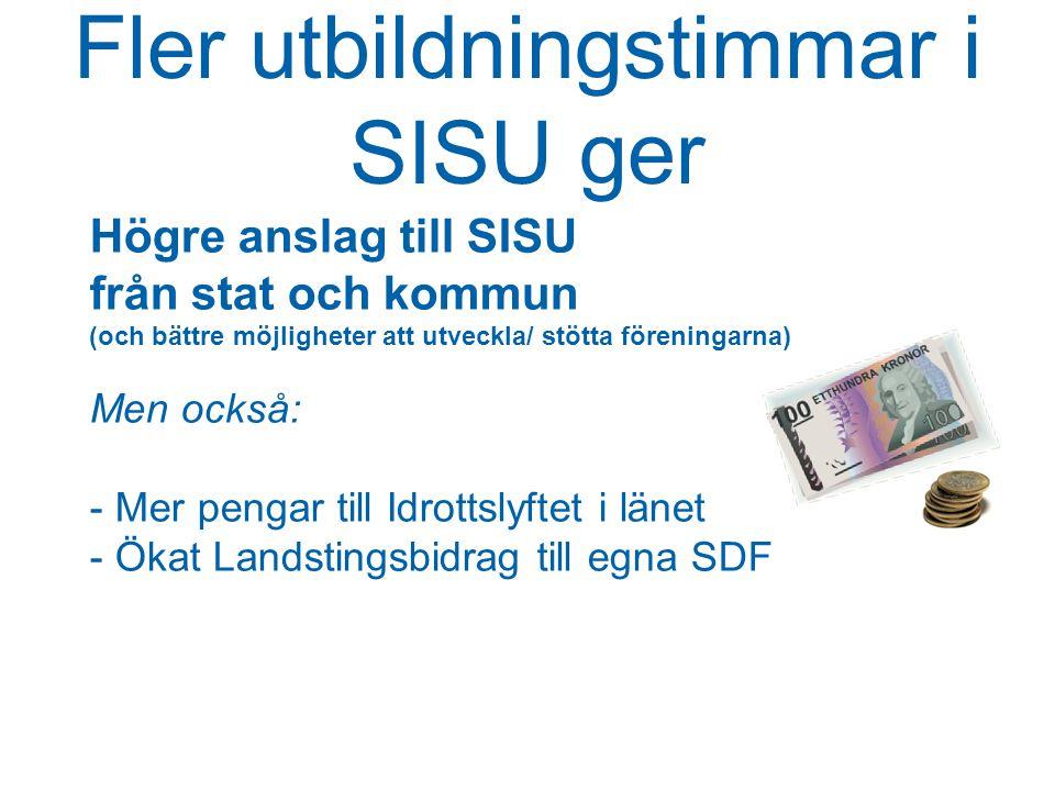 Fler utbildningstimmar i SISU ger Högre anslag till SISU från stat och kommun (och bättre möjligheter att utveckla/ stötta föreningarna) Men också: - Mer pengar till Idrottslyftet i länet - Ökat Landstingsbidrag till egna SDF