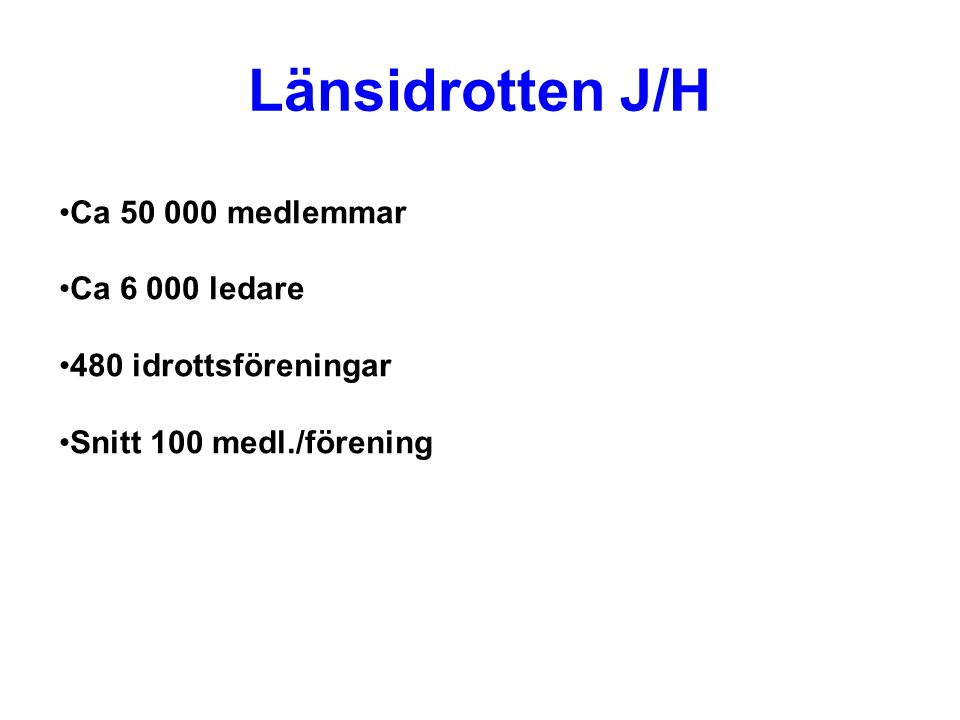 Länsidrotten J/H Ca 50 000 medlemmar Ca 6 000 ledare 480 idrottsföreningar Snitt 100 medl./förening