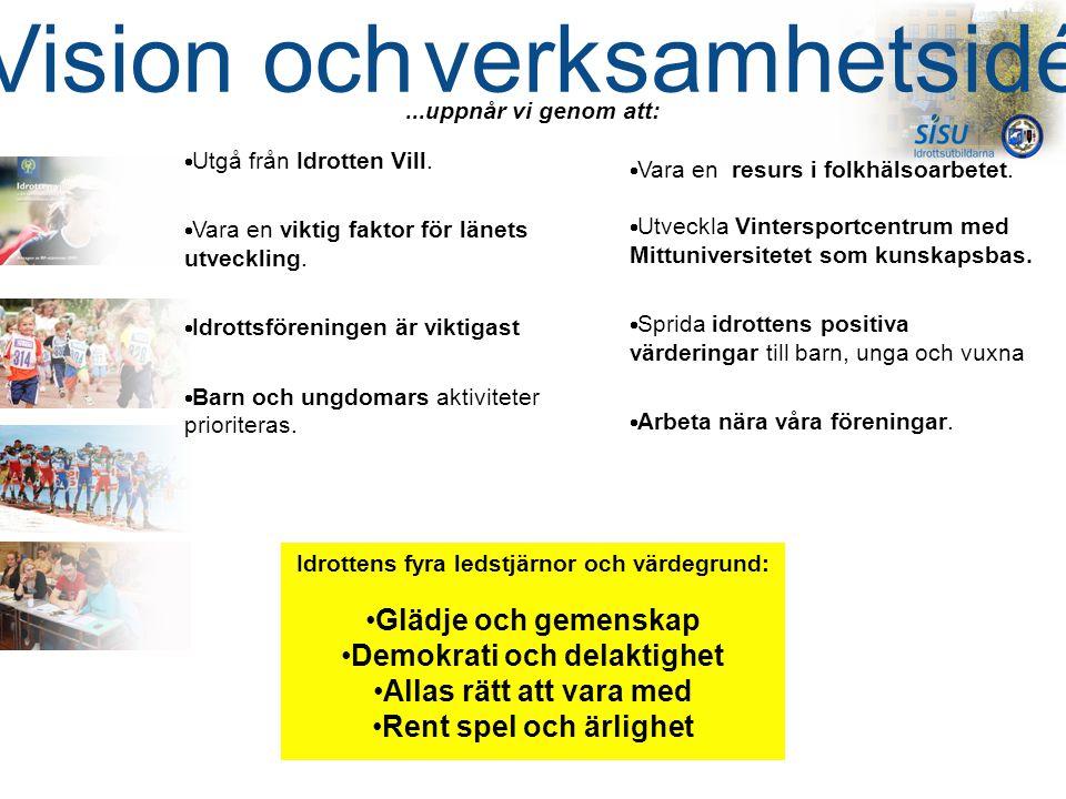  Utgå från Idrotten Vill.  Vara en viktig faktor för länets utveckling.